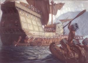 L'arrivée de Champlain à Québec en 1608