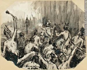Peinture-esquisse. Champlain. William. R. Hope. Vers 1890-1891, 19e siècle. Lavis et encre sur papier monté sur papier. 9 x 11.2 cm. Transfert de l'Université McGill.
