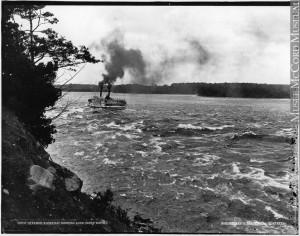 Le vapeur « Algerian » franchissant les rapides de Long Sault, Ont., vers 1890